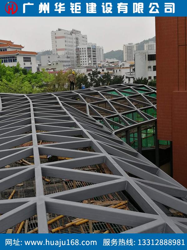 惠州异形钢结构-惠州宝晟公馆采光棚